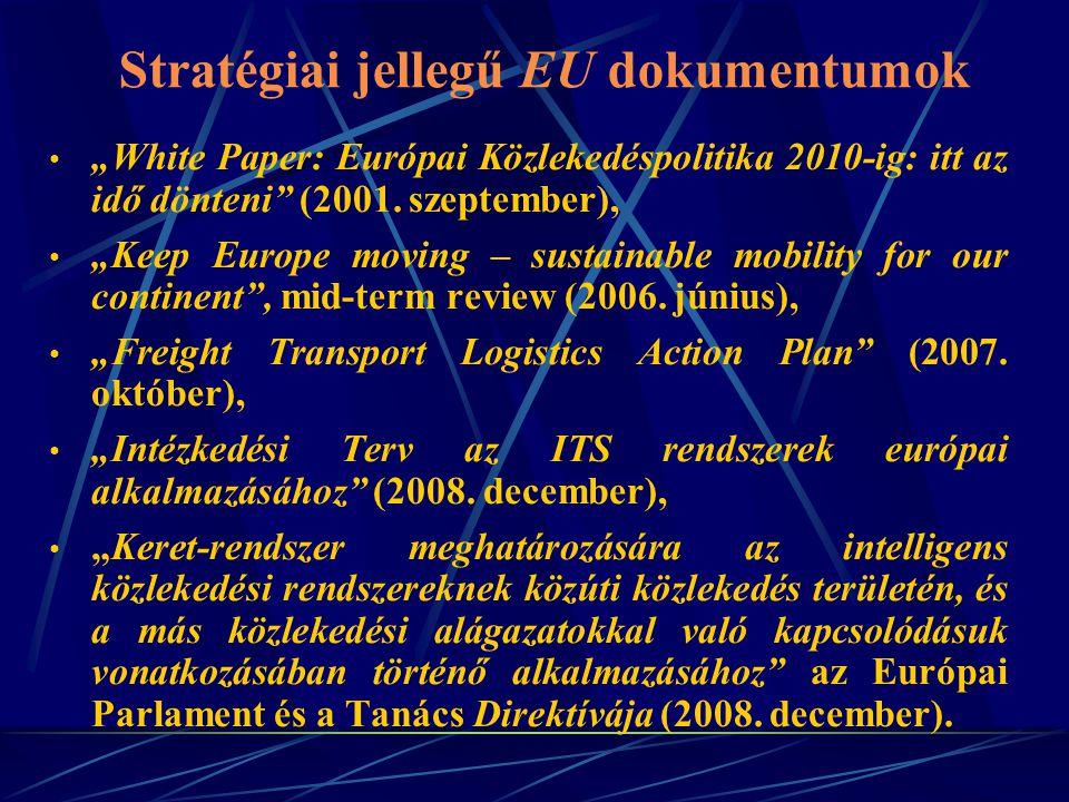"""Stratégiai jellegű EU dokumentumok """"White Paper: Európai Közlekedéspolitika 2010-ig: itt az idő dönteni"""" (2001. szeptember), """"Keep Europe moving – sus"""