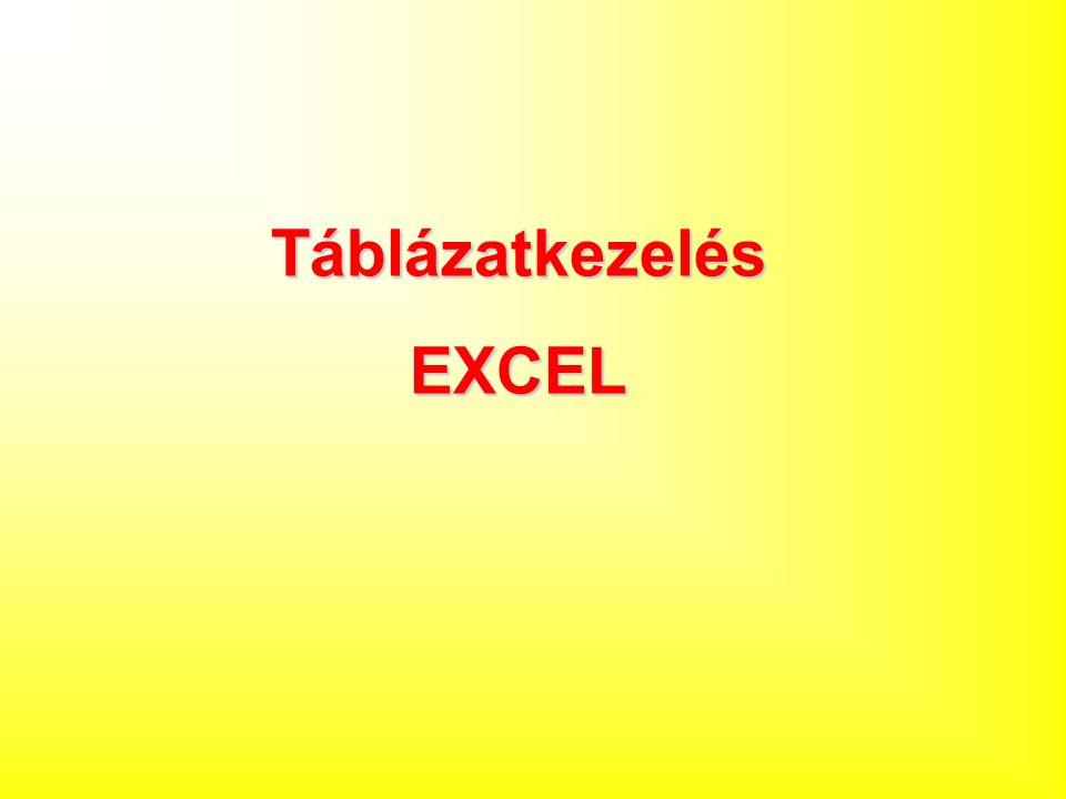 Táblázatkezelés EXCEL