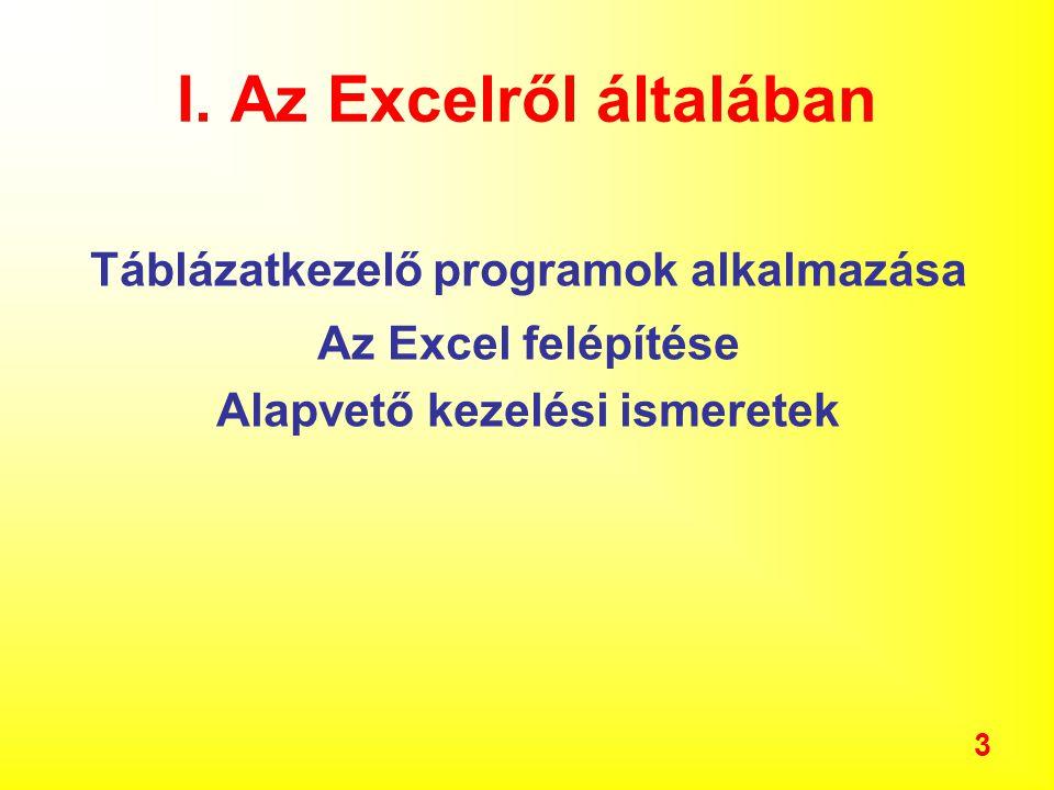 3 Táblázatkezelő programok alkalmazása Az Excel felépítése Alapvető kezelési ismeretek I.