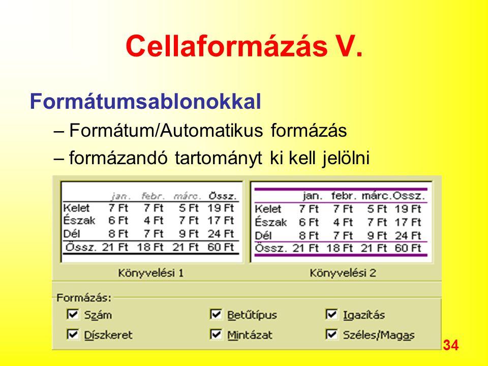 34 Cellaformázás V.