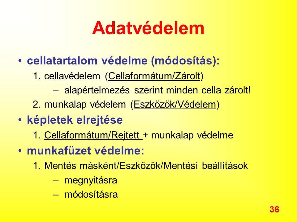 36 Adatvédelem cellatartalom védelme (módosítás): 1.cellavédelem (Cellaformátum/Zárolt) –alapértelmezés szerint minden cella zárolt.
