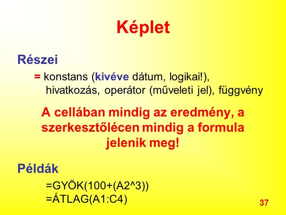 37 Képlet Részei = konstans (kivéve dátum, logikai!), hivatkozás, operátor (műveleti jel), függvény A cellában mindig az eredmény, a szerkesztőlécen mindig a formula jelenik meg.