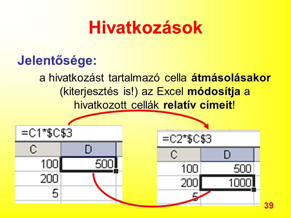 39 Hivatkozások Jelentősége: a hivatkozást tartalmazó cella átmásolásakor (kiterjesztés is!) az Excel módosítja a hivatkozott cellák relatív címeit!
