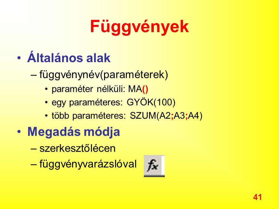 41 Függvények Általános alak –függvénynév(paraméterek) paraméter nélküli: MA() egy paraméteres: GYÖK(100) több paraméteres: SZUM(A2;A3;A4) Megadás módja –szerkesztőlécen –függvényvarázslóval