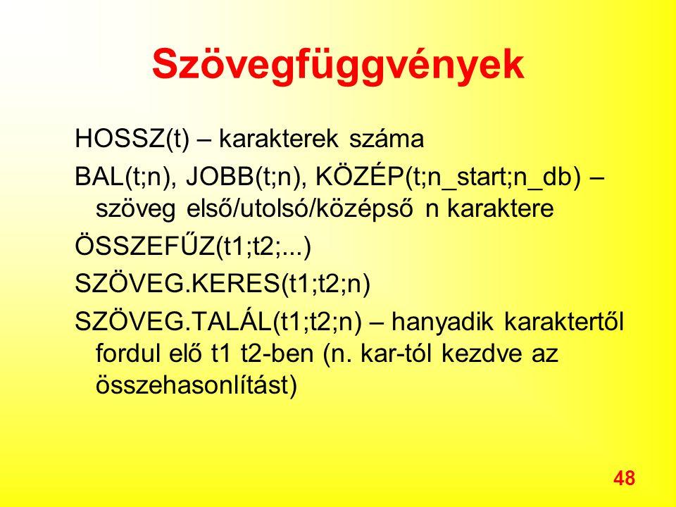 48 Szövegfüggvények HOSSZ(t) – karakterek száma BAL(t;n), JOBB(t;n), KÖZÉP(t;n_start;n_db) – szöveg első/utolsó/középső n karaktere ÖSSZEFŰZ(t1;t2;...) SZÖVEG.KERES(t1;t2;n) SZÖVEG.TALÁL(t1;t2;n) – hanyadik karaktertől fordul elő t1 t2-ben (n.