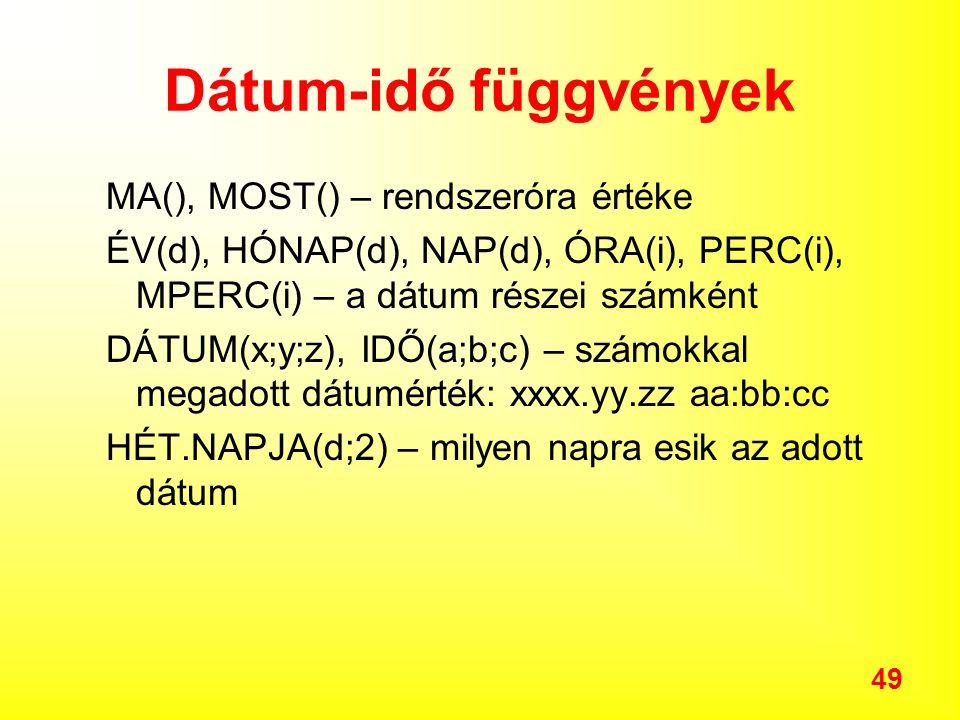 49 Dátum-idő függvények MA(), MOST() – rendszeróra értéke ÉV(d), HÓNAP(d), NAP(d), ÓRA(i), PERC(i), MPERC(i) – a dátum részei számként DÁTUM(x;y;z), IDŐ(a;b;c) – számokkal megadott dátumérték: xxxx.yy.zz aa:bb:cc HÉT.NAPJA(d;2) – milyen napra esik az adott dátum