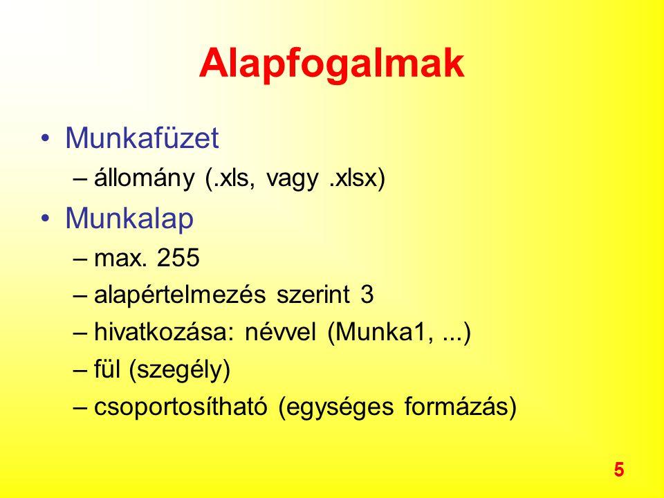 5 Alapfogalmak Munkafüzet –állomány (.xls, vagy.xlsx) Munkalap –max.