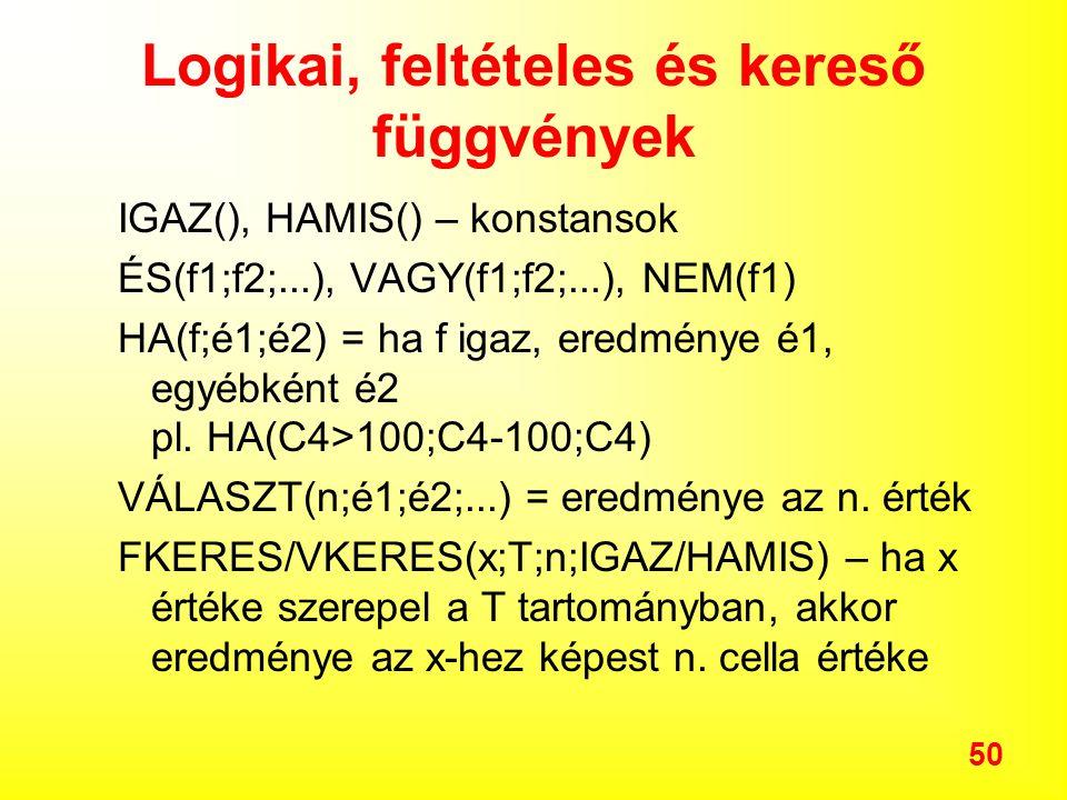 50 Logikai, feltételes és kereső függvények IGAZ(), HAMIS() – konstansok ÉS(f1;f2;...), VAGY(f1;f2;...), NEM(f1) HA(f;é1;é2) = ha f igaz, eredménye é1, egyébként é2 pl.
