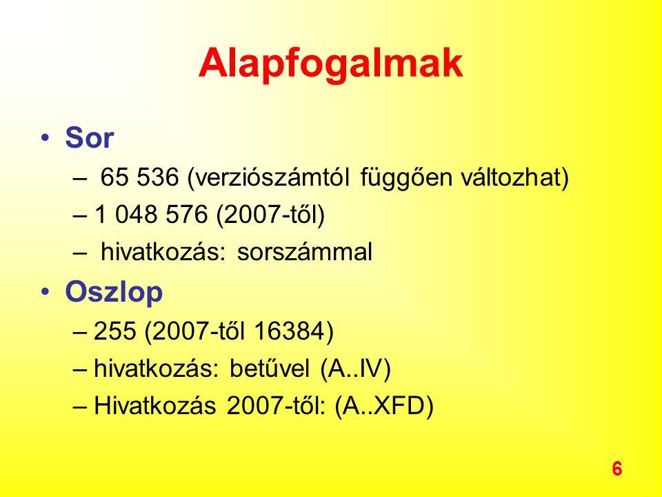 6 Alapfogalmak Sor – 65 536 (verziószámtól függően változhat) –1 048 576 (2007-től) – hivatkozás: sorszámmal Oszlop –255 (2007-től 16384) –hivatkozás: betűvel (A..IV) –Hivatkozás 2007-től: (A..XFD)