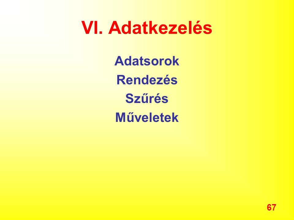 67 VI. Adatkezelés Adatsorok Rendezés Szűrés Műveletek