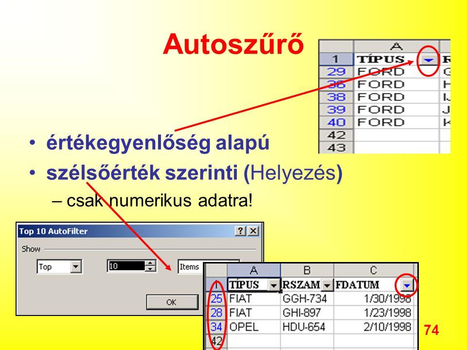 74 Autoszűrő értékegyenlőség alapú szélsőérték szerinti (Helyezés) –csak numerikus adatra!