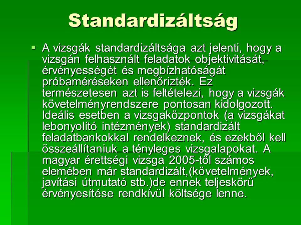 Standardizáltság  A vizsgák standardizáltsága azt jelenti, hogy a vizsgán felhasznált feladatok objektivitását, érvényességét és megbízhatóságát próbaméréseken ellenőrizték.