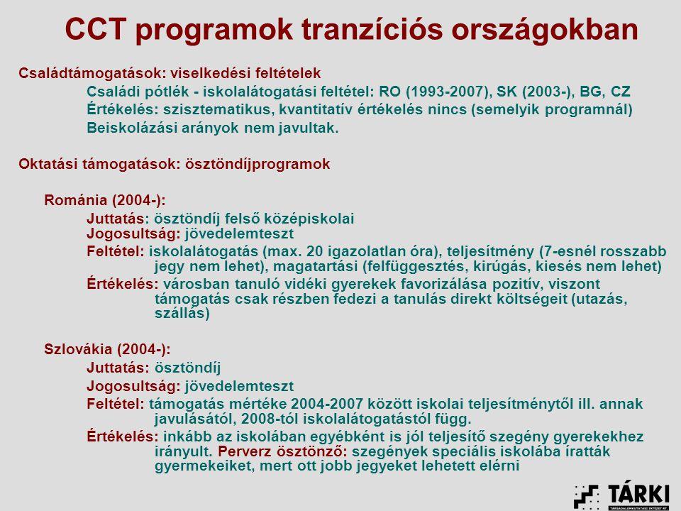 CCT programok tranzíciós országokban Családtámogatások: viselkedési feltételek Családi pótlék - iskolalátogatási feltétel: RO (1993-2007), SK (2003-), BG, CZ Értékelés: szisztematikus, kvantitatív értékelés nincs (semelyik programnál) Beiskolázási arányok nem javultak.