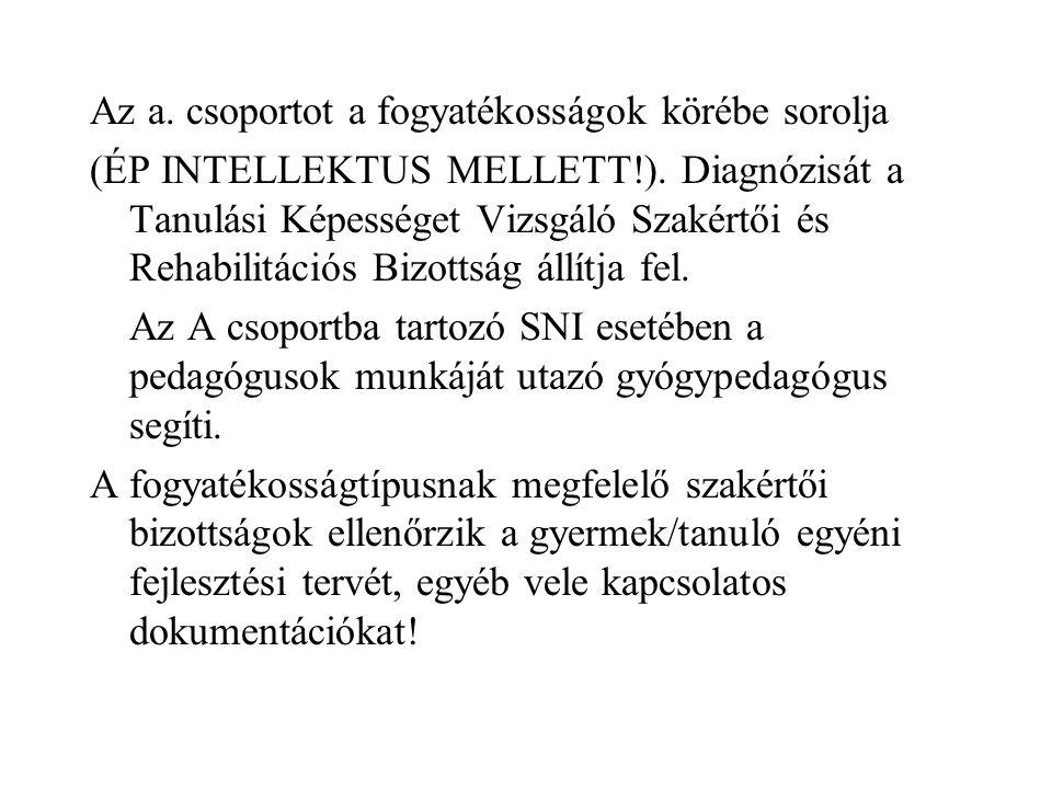 Az a. csoportot a fogyatékosságok körébe sorolja (ÉP INTELLEKTUS MELLETT!). Diagnózisát a Tanulási Képességet Vizsgáló Szakértői és Rehabilitációs Biz