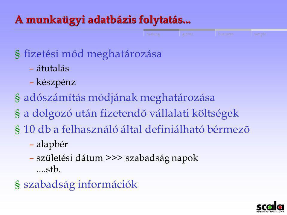 globalbusinessmakingsimple A munkaügyi adatbázis § 3-6 karakteres dolgozó azonosító § belépés, kilépés dátuma § munkaidõ nyilvántartás § felhasználó á