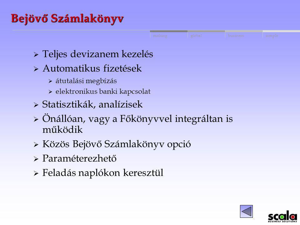 globalbusinessmakingsimple Bejövő Számlakönyv Szállítói adatbázis Szállítói számlák nyilvántartása Szállítónként megadható devizanem és nyelvi kód Szá