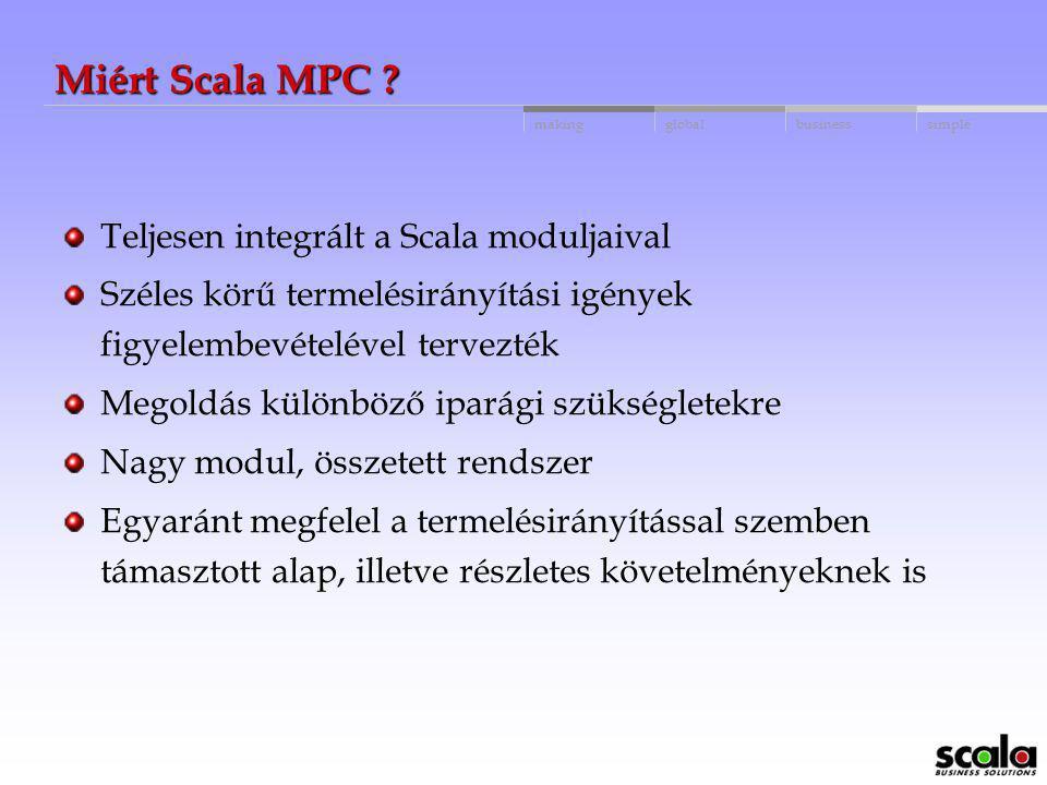 globalbusinessmakingsimple MRP II rendszer Scala ERP software megoldás Egyéb termelésirányítási módszerek: JIT Kanban Támogatás: ISO 9000 Nemzetközi M
