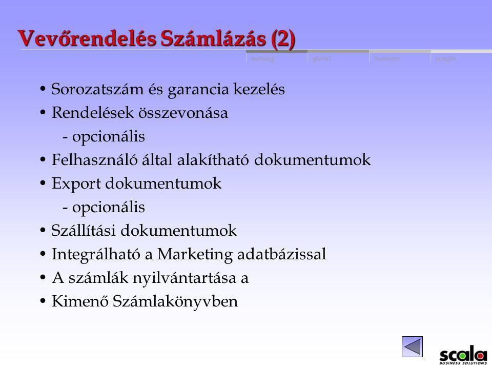 globalbusinessmakingsimple Vevőrendelés Számlázás (1) Különböző rendelés típusok Teljes hozzáférés a vevő és cikk adatokhoz Ajánlatok átalakítása rend