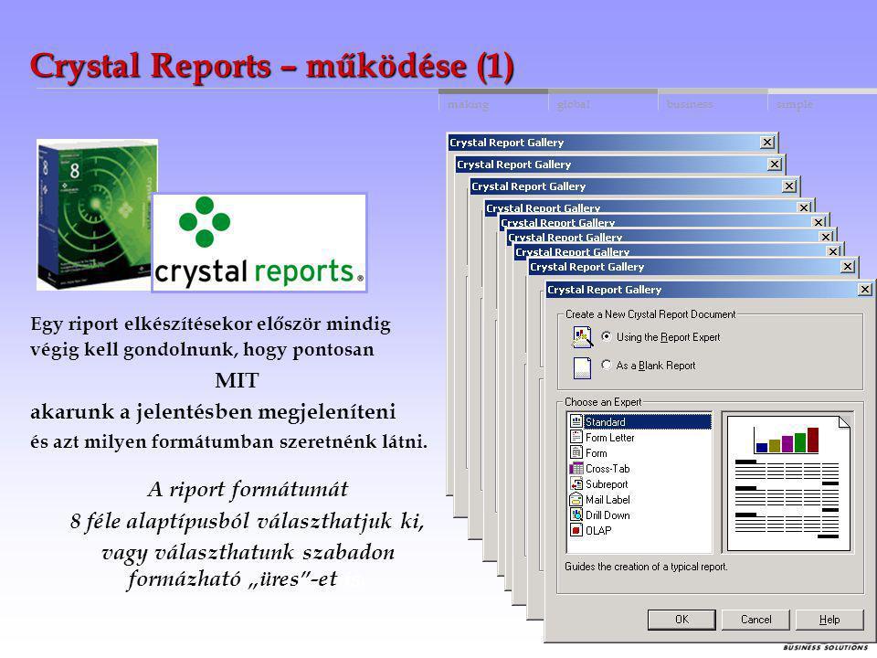 globalbusinessmakingsimple Crystal Reports A Crystal Reports egy jelentés szerkesztő rendszer, mellyel elérhető az MS SQL, Btrieve vagy bármely ERP re
