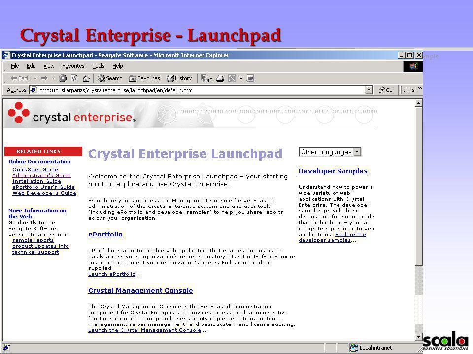 globalbusinessmakingsimple Crystal Enterpise Integrált Jelentési és Elemző rendszer Web szintű eléréssel. A Crystal Enterprise rugalmas, skálázható és