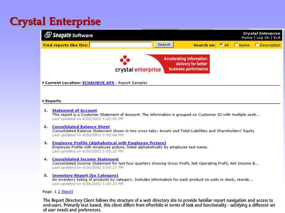 globalbusinessmakingsimple Crystal Enterprise Integrált Jelentési és Elemző rendszer Web szintű eléréssel. A Crystal Enterprise rugalmas, skálázható é