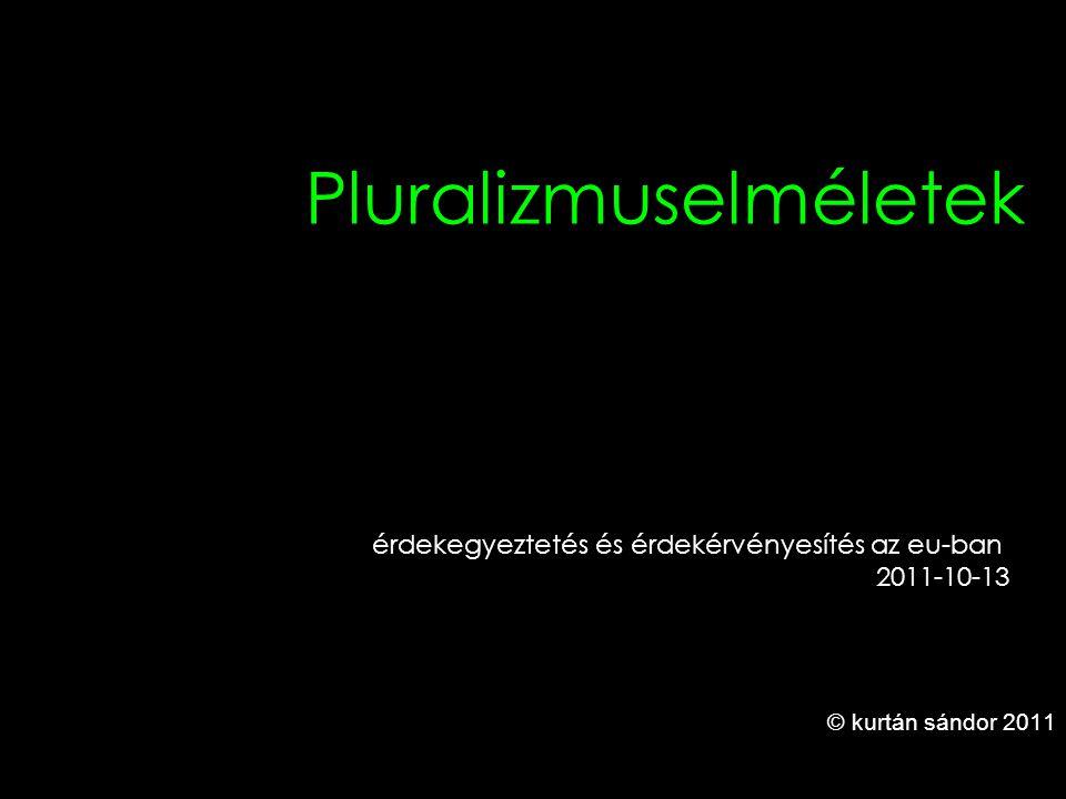 1 Pluralizmuselméletek © kurtán sándor 2011 érdekegyeztetés és érdekérvényesítés az eu-ban 2011-10-13