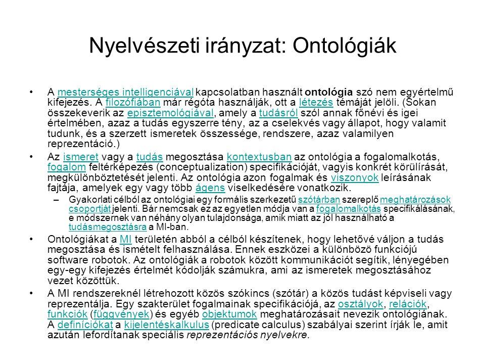Nyelvészeti irányzat: Ontológiák A mesterséges intelligenciával kapcsolatban használt ontológia szó nem egyértelmű kifejezés. A filozófiában már régót