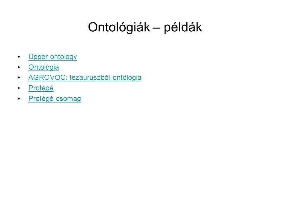 Ontológiák – példák Upper ontology Ontológia AGROVOC: tezauruszból ontológia Protégé Protégé csomag