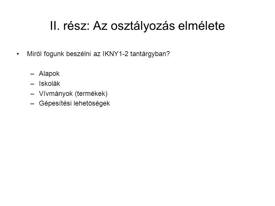 II.rész: Az osztályozás elmélete Miröl fogunk beszélni az IKNY1-2 tantárgyban.