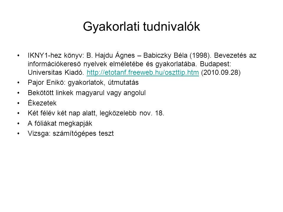 Gyakorlati tudnivalók IKNY1-hez könyv: B. Hajdu Ágnes – Babiczky Béla (1998). Bevezetés az információkeresö nyelvek elméletébe és gyakorlatába. Budape