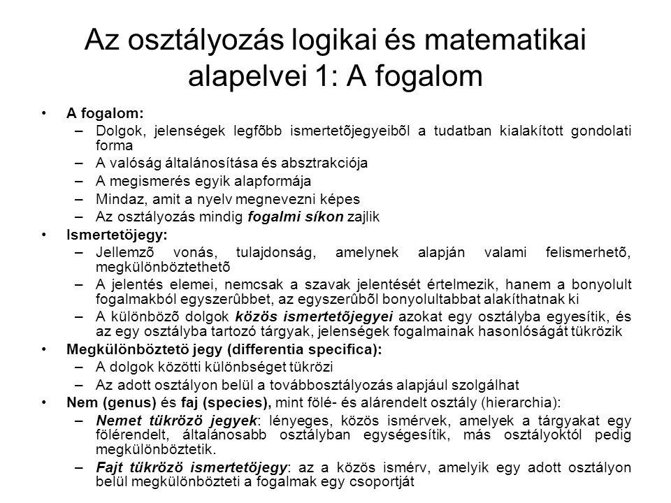Az osztályozás logikai és matematikai alapelvei 1: A fogalom A fogalom: –Dolgok, jelenségek legfõbb ismertetõjegyeibõl a tudatban kialakított gondolat