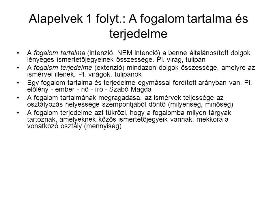 Alapelvek 1 folyt.: A fogalom tartalma és terjedelme A fogalom tartalma (intenzió, NEM intenció) a benne általánosított dolgok lényeges ismertetõjegye