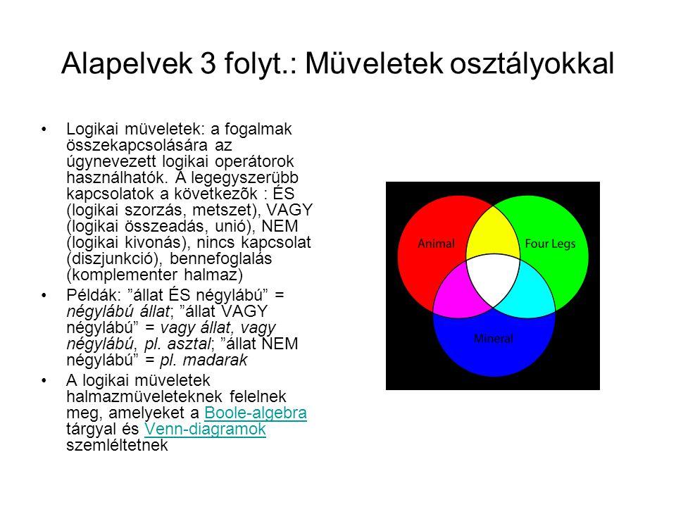 Alapelvek 3 folyt.: Müveletek osztályokkal Logikai müveletek: a fogalmak összekapcsolására az úgynevezett logikai operátorok használhatók. A legegysze