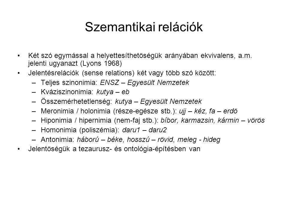 Szemantikai relációk Két szó egymással a helyettesíthetöségük arányában ekvivalens, a.m. jelenti ugyanazt (Lyons 1968) Jelentésrelációk (sense relatio
