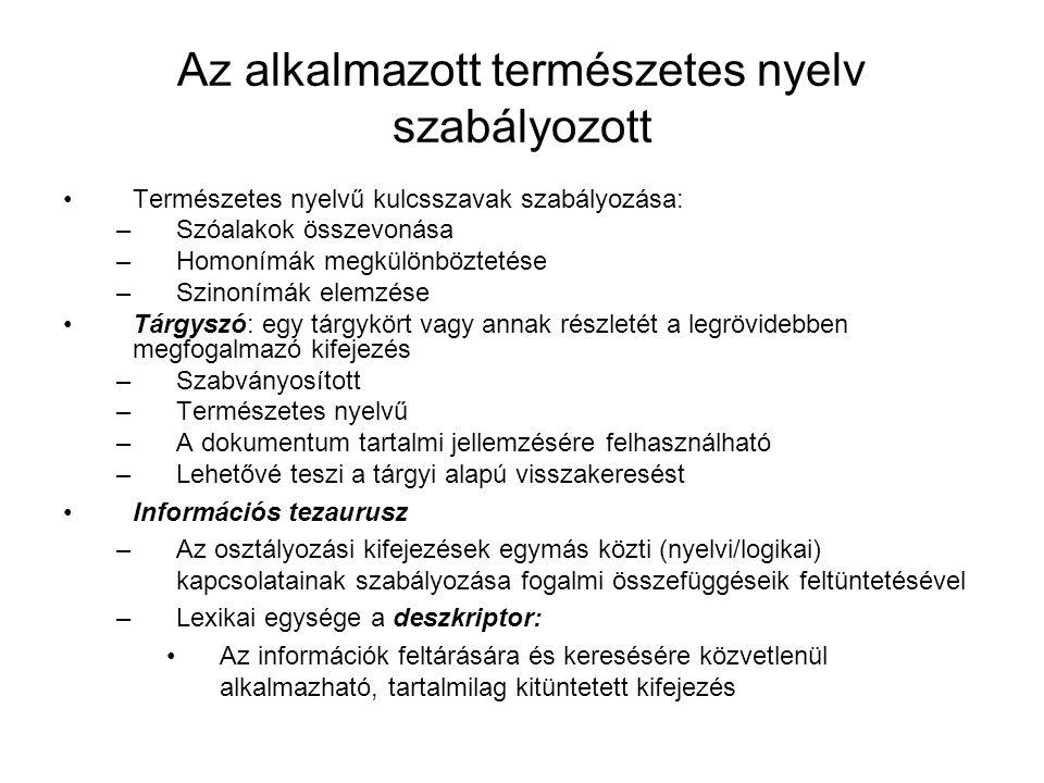 Az alkalmazott természetes nyelv szabályozott Természetes nyelvű kulcsszavak szabályozása: –Szóalakok összevonása –Homonímák megkülönböztetése –Szinon