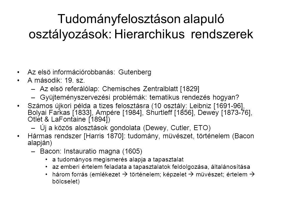 Tudományfelosztáson alapuló osztályozások: Hierarchikus rendszerek Az elsö információrobbanás: Gutenberg A második: 19. sz. –Az elsö referálólap: Chem