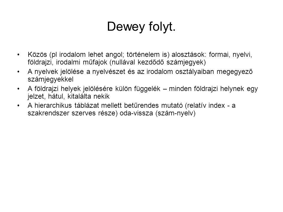 Dewey folyt. Közös (pl irodalom lehet angol; történelem is) alosztások: formai, nyelvi, földrajzi, irodalmi műfajok (nullával kezdődő számjegyek) A ny