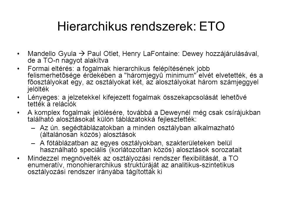 Hierarchikus rendszerek: ETO Mandello Gyula  Paul Otlet, Henry LaFontaine: Dewey hozzájárulásával, de a TO-n nagyot alakítva Formai eltérés: a fogalm