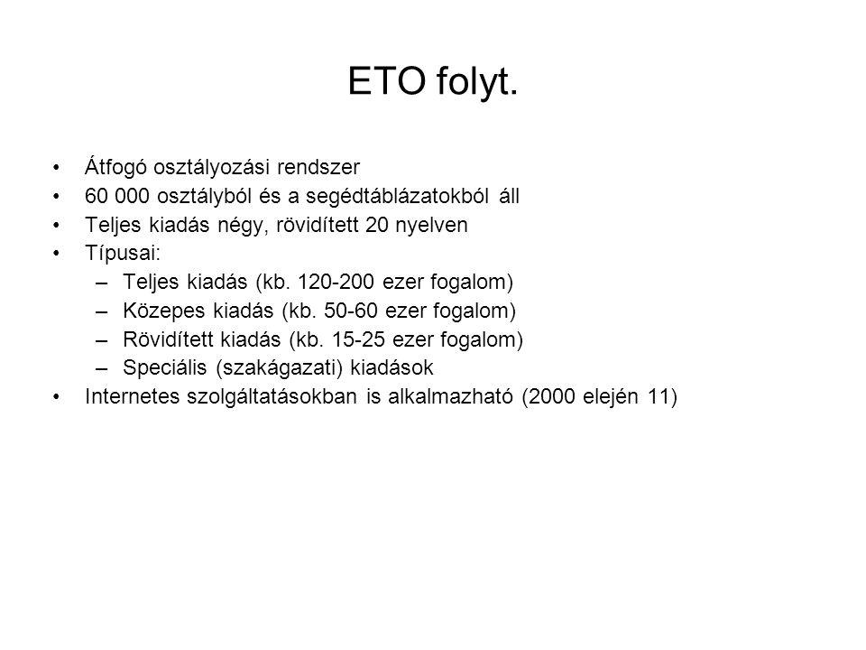 ETO folyt. Átfogó osztályozási rendszer 60 000 osztályból és a segédtáblázatokból áll Teljes kiadás négy, rövidített 20 nyelven Típusai: –Teljes kiadá