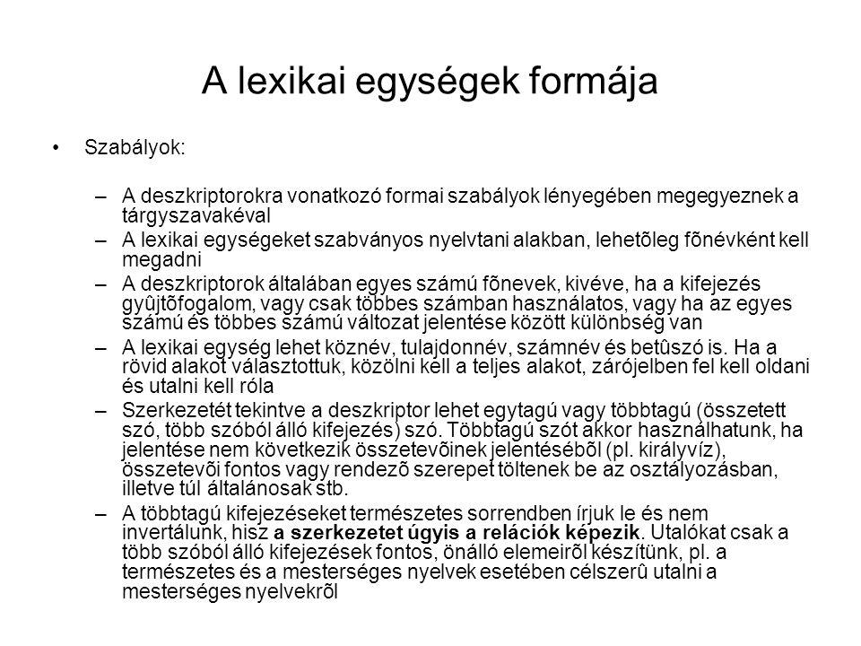 A lexikai egységek formája Szabályok: –A deszkriptorokra vonatkozó formai szabályok lényegében megegyeznek a tárgyszavakéval –A lexikai egységeket sza