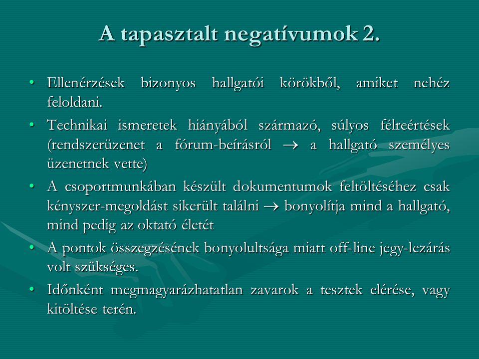 A tapasztalt negatívumok 2. Ellenérzések bizonyos hallgatói körökből, amiket nehéz feloldani.Ellenérzések bizonyos hallgatói körökből, amiket nehéz fe