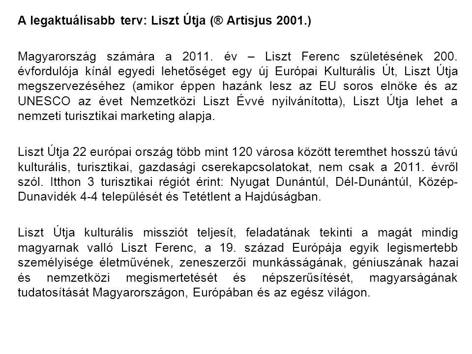 A legaktuálisabb terv: Liszt Útja (® Artisjus 2001.) Magyarország számára a 2011.