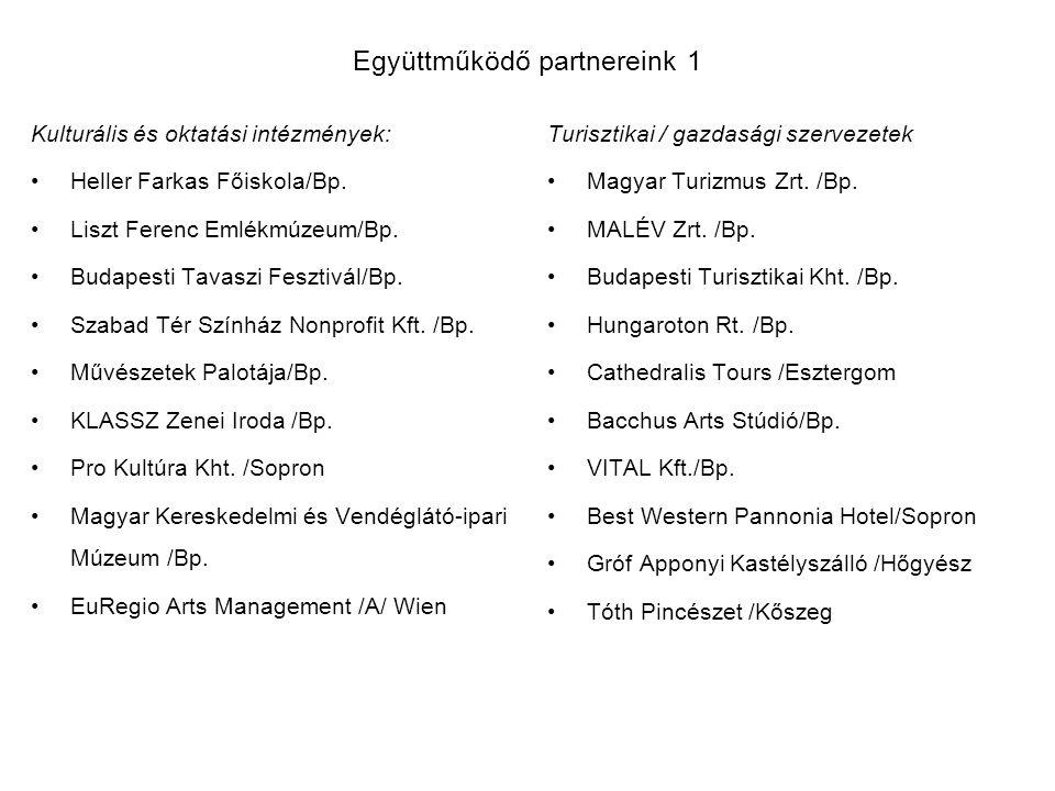Együttműködő partnereink 1 Kulturális és oktatási intézmények: Heller Farkas Főiskola/Bp.