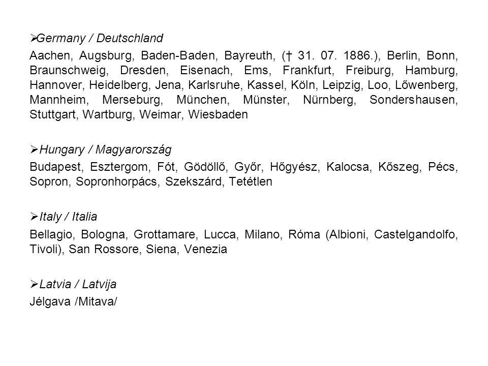  Germany / Deutschland Aachen, Augsburg, Baden-Baden, Bayreuth, († 31.