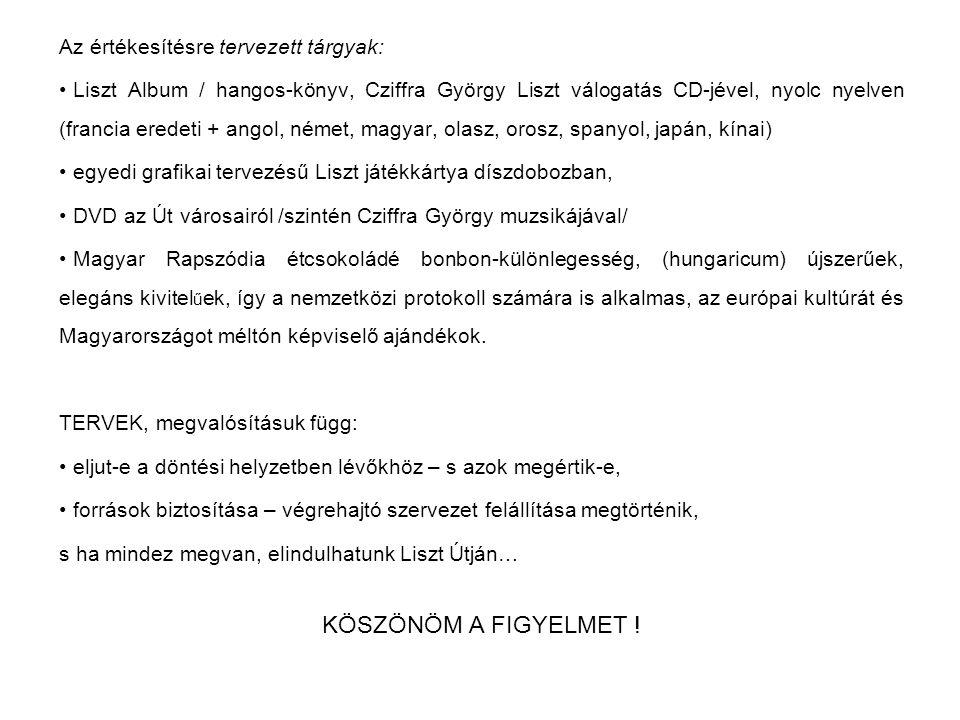 Az értékesítésre tervezett tárgyak: Liszt Album / hangos-könyv, Cziffra György Liszt válogatás CD-jével, nyolc nyelven (francia eredeti + angol, német, magyar, olasz, orosz, spanyol, japán, kínai) egyedi grafikai tervezésű Liszt játékkártya díszdobozban, DVD az Út városairól /szintén Cziffra György muzsikájával/ Magyar Rapszódia étcsokoládé bonbon-különlegesség, (hungaricum) újszerűek, elegáns kivitel ű ek, így a nemzetközi protokoll számára is alkalmas, az európai kultúrát és Magyarországot méltón képviselő ajándékok.