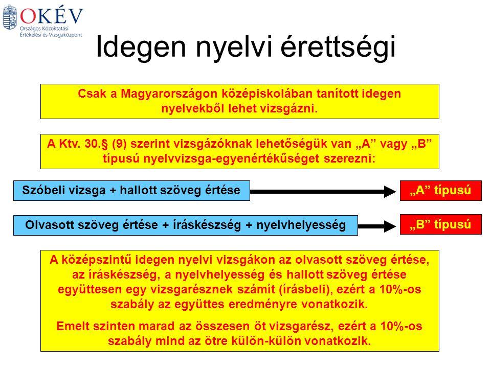 Idegen nyelvi érettségi A Ktv.