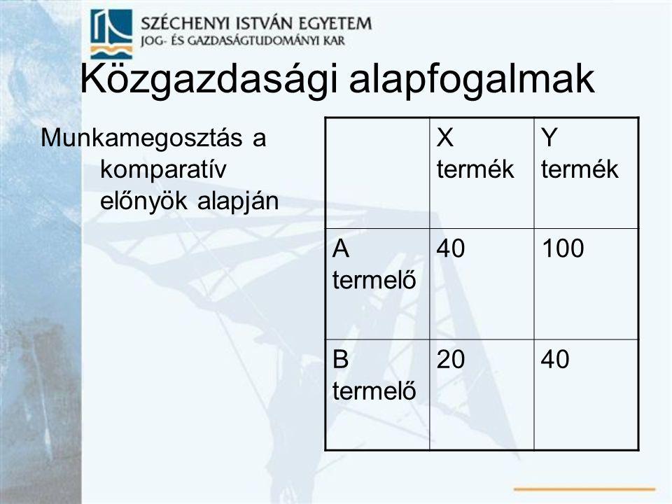 Közgazdasági alapfogalmak Munkamegosztás a komparatív előnyök alapján X termék Y termék A termelő 40100 B termelő 2040