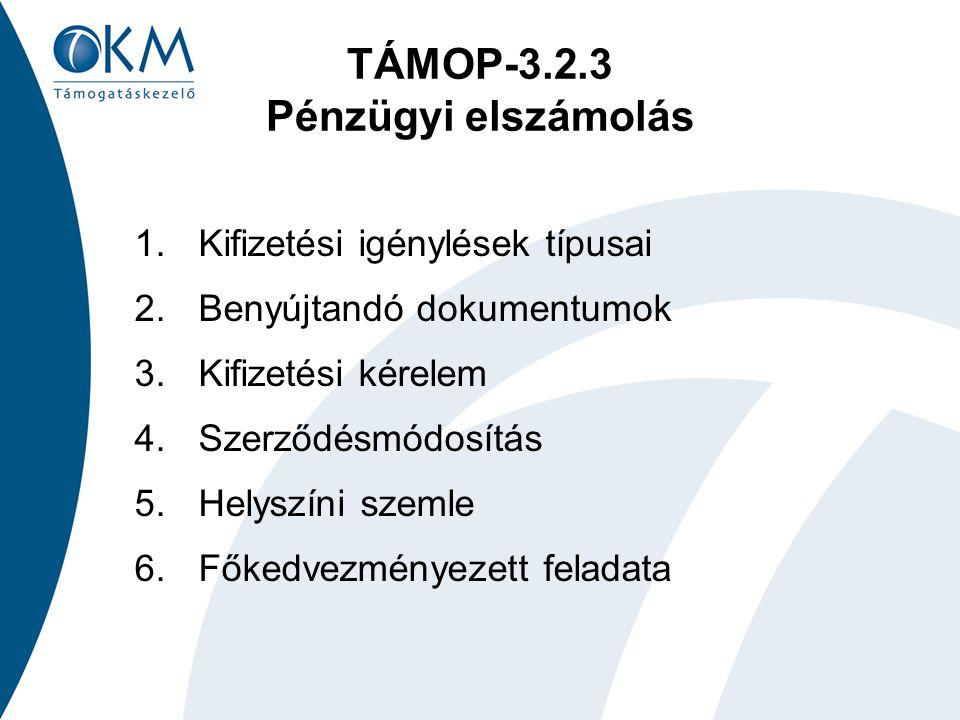 TÁMOP-3.2.3 Pénzügyi elszámolás 1.Kifizetési igénylések típusai 2.Benyújtandó dokumentumok 3.Kifizetési kérelem 4.Szerződésmódosítás 5.Helyszíni szemle 6.Főkedvezményezett feladata