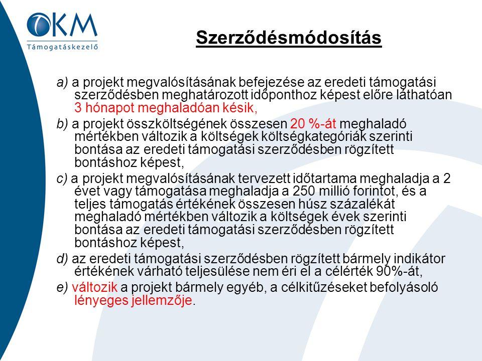 Szerződésmódosítás a) a projekt megvalósításának befejezése az eredeti támogatási szerződésben meghatározott időponthoz képest előre láthatóan 3 hónapot meghaladóan késik, b) a projekt összköltségének összesen 20 %-át meghaladó mértékben változik a költségek költségkategóriák szerinti bontása az eredeti támogatási szerződésben rögzített bontáshoz képest, c) a projekt megvalósításának tervezett időtartama meghaladja a 2 évet vagy támogatása meghaladja a 250 millió forintot, és a teljes támogatás értékének összesen húsz százalékát meghaladó mértékben változik a költségek évek szerinti bontása az eredeti támogatási szerződésben rögzített bontáshoz képest, d) az eredeti támogatási szerződésben rögzített bármely indikátor értékének várható teljesülése nem éri el a célérték 90%-át, e) változik a projekt bármely egyéb, a célkitűzéseket befolyásoló lényeges jellemzője.