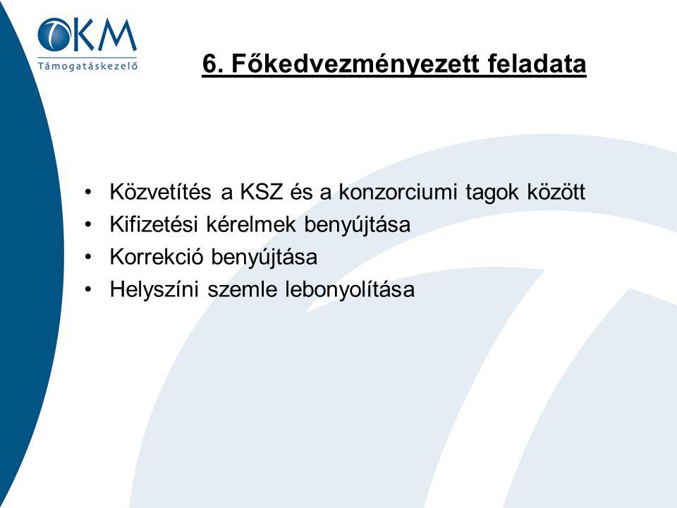 6. Főkedvezményezett feladata Közvetítés a KSZ és a konzorciumi tagok között Kifizetési kérelmek benyújtása Korrekció benyújtása Helyszíni szemle lebo